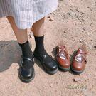 森女娃娃鞋單鞋女日系淺口圓頭交叉帶碎花平底鞋舒適學生鞋女單鞋「時尚彩虹屋」
