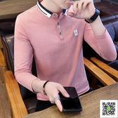 Polo衫 夏季潮流長袖襯衫領POLO衫新款有帶領短袖T恤男翻領半袖衣 歐歐流行館