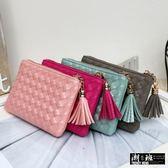 『潮段班』【GN000C02】多色時尚百搭女用格紋編織流蘇輕巧卡夾拉鏈零錢包袋
