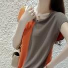 棉麻T恤 夏季復古撞色V領棉麻T恤寬鬆薄款針織衫純棉女短袖時尚拼色-Ballet朵朵