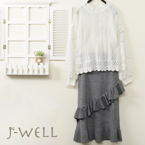 J-WELL 甜心氣質系毛衣針織荷葉直筒裙二件組(組合A663 9J1102白+9J1154灰)