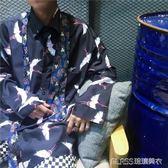 仙鶴印花長袖半袖薄襯衫男女款    琉璃美衣