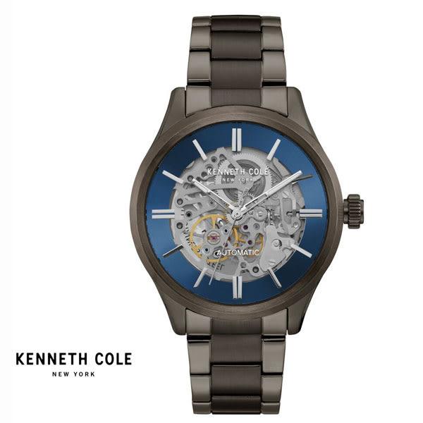Kenneth Cole 帥氣黑藍配色黑鋼全鏤空機械錶 42mm KC15171001 公司貨|名人鐘錶