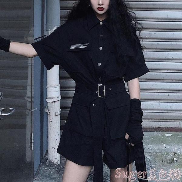 連體褲 帥氣工裝連體褲女夏季2021新款黑色顯瘦高腰短袖連衣闊腿短褲套裝 suger