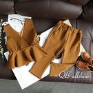 女童套裝 歐美風範大氣馬甲背心+修身口袋寬管長褲 兩件式 QB allshine