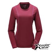 PolarStar 女 竹炭吸排長袖圓領衫『紅紫』P17210 機能衣│刷毛衣排汗│透氣│輕量