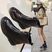 平底短靴馬丁靴女春秋單靴瘦瘦鞋網紅英倫風內增高短靴新款顯瘦靴子 新年優惠