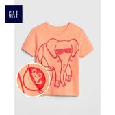Gap男嬰幼童 創意印花圓領短袖T恤童裝 小童夏裝兒童上衣 465905-橙色
