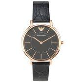 EMPORIO ARMANI經典輕薄玫瑰金壓紋皮革腕錶32mm(AR11064)270302