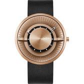 【台南 時代鐘錶 ODM】REVERSE 逆轉系列 立體層次工業風格特色時尚腕錶 DD173-02 皮帶 玫瑰金 44mm