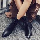 黑色靴子短靴女春秋2020新款軟皮加絨繫帶馬丁靴高跟鞋女冬季粗跟 依凡卡時尚