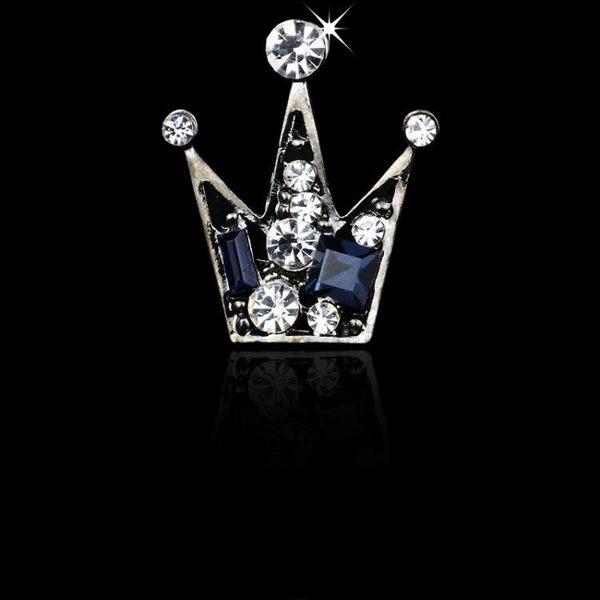 降價三天-韓版皇冠西裝胸針男款小領針女襯衫領扣水晶男士胸花高檔徽章配飾