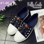 大尺碼女鞋-凱莉密碼-潮流時尚珍珠裝飾百搭綁帶平底休閒鞋2cm(41-46)【XTB26-20】黑色