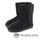 【南紡購物中心】WALKING ZONE 滿版水鑽內鋪毛雪靴 女鞋 - 黑(另有灰)