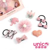 UNICO 嬰兒少髮量寶寶甜甜風汗毛夾髮夾髮圈禮盒-9件組