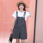 中大尺碼~後背鏤空上衣個帶褲短袖兩件式套裝裙(XL~4XL)