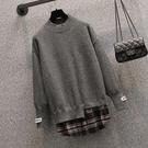 L-4XL大碼長袖毛衣 上衣.077毛衣#大碼女裝洋氣顯瘦毛衣胖妹妹針織衫羊毛上衣4F057 皇潮天下