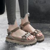 韓版涼鞋平底休閒增高鬆糕涼鞋女