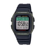 CASIO手錶專賣店 卡西歐  W-96H-3A  男錶 數字型 電子錶 弧形鏡面防水50米 軍綠  LED照明 橡膠錶帶