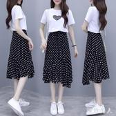 雪紡連身裙2020新款夏流行小眾桔梗裙小個子波點兩件式洋裝套裝 LF4923【極致男人】