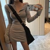 長袖洋裝長袖緊身連身裙女性感包臀裙2021新款收腰顯瘦秋裝V領氣質裙子潮 童趣屋  新品