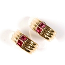 D'ORLAN 紅色水晶半月夾式耳環(金色) 990109