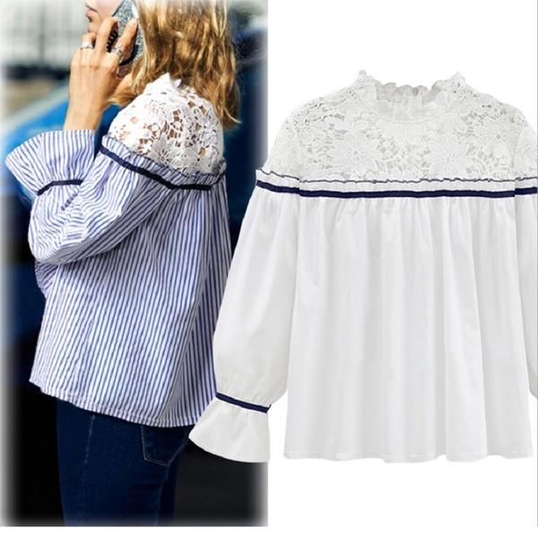 (現貨+預購 RN-girls)- 加大超百搭小浪漫棉質蕾絲拼接長袖上衣