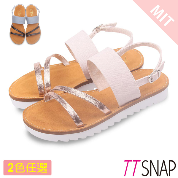 涼鞋-TTSNAP 閃亮緞帶牛皮平底涼鞋 黑/金