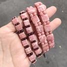 『晶鑽水晶』天然紅紋石 菱錳礦 石榴石 正方形手排 兩種款式 超級正能量的愛情 招桃花 附禮盒