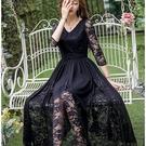 98600-QF時尚V領拼接鏤空蕾絲袖飄逸大裙襬透視長裙洋裝~美之札