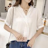 【GZ23】韓版寬鬆時尚V領鈎花蕾絲拼接雪紡衫短袖上衣