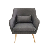 【JUSTBUY】納卡北歐原創單人沙發椅(附同色靠枕)鐵灰色