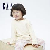 Gap女幼童 Logo純棉圓領長袖T恤 731856-象牙白