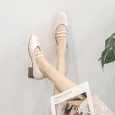 瑪麗珍鞋中跟復古鞋子女春百搭一字扣低跟淺口溫柔配裙子淑女單鞋 夢幻衣都