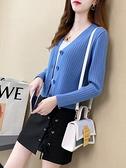 針織開衫網紅針織毛衣開衫短款上衣小外套女2021年新款春秋季寬鬆披肩外搭 韓國時尚