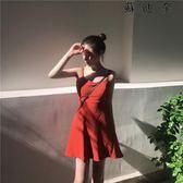 吊帶洋裝打底吊帶裙中長款修身連身裙