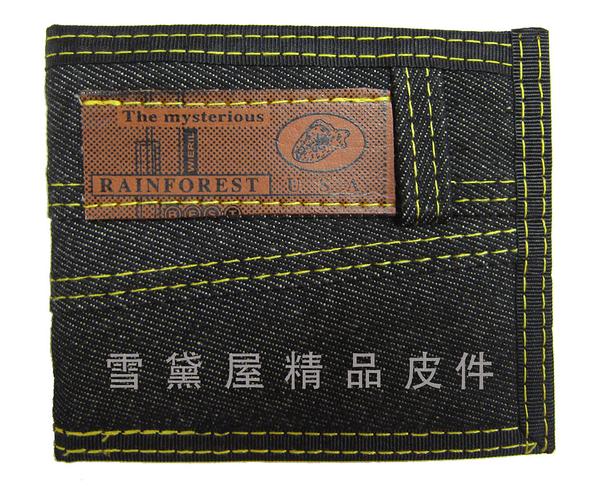 ~雪黛屋~RAINFOREST 短夾運動休閒台灣製造防水丹寧布輕巧好攜帶可刷洗標準尺寸固定型證件夾#7981