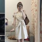 蝴蝶結法式設計感小眾無袖背心洋裝收腰顯瘦氣質小裙子桔梗裙夏 喵小姐