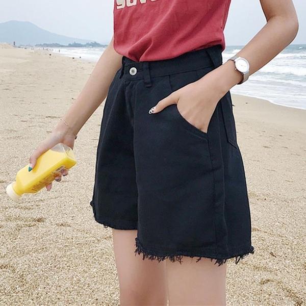 [超豐國際]夏日潮學院風學生基礎百搭款寬松純色高腰撕邊闊腿褲1入