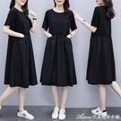 棉麻洋裝含棉 夏季新款大碼連身裙女韓版寬松顯瘦中長款拼接小黑裙子 快速出貨
