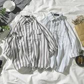 夏季七分條紋襯衫男短袖正韓潮流百搭寬鬆港風五分袖襯衣 森雅誠品