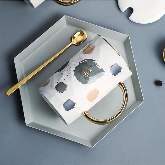陶瓷杯子創意個性潮流馬克杯帶蓋勺簡約情侶喝水杯家用茶杯咖啡杯科炫數位