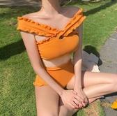 比基尼 ins網紅復古高腰分體泳衣女小清新木耳邊一字肩比基尼泡溫泉泳裝
