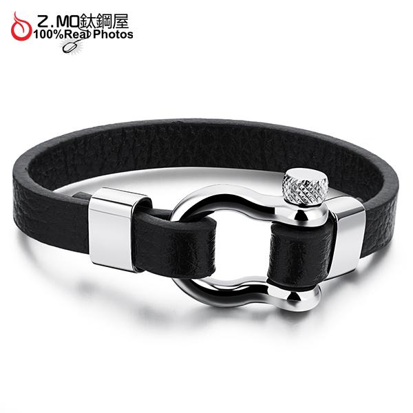 [Z-MO鈦鋼屋]316L白鋼/復古馬蹄皮手環/優質皮革材質/個性搖滾有型/單件價【CKLS1095】