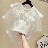 娃娃衫 白色娃娃領襯衫女短袖夏季韓版寬松甜美蕾絲鉤花鏤空上衣 麗人印象 免運