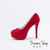 大尺碼女鞋-夢想店-超模時尚百搭款絨面內防水台超高跟鞋15cm(41-46)-紅色【MEY14-6】