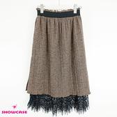 【SHOWCASE】冬款毛呢絨感鬆緊腰蕾絲襬雙層百褶膝下裙(棕)