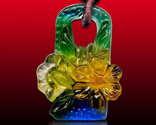 鹿港窯~居家開運水晶琉璃項鍊~花籃 附精美包裝 ◆免運費送到家◆