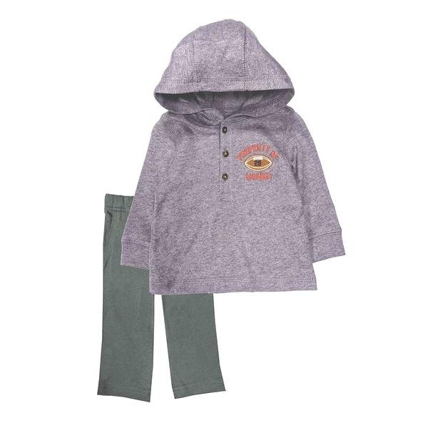 男寶寶套裝二件組 長袖薄連帽上衣+長褲 灰橄欖 | Carter s卡特童裝 (嬰幼兒/小孩/baby)