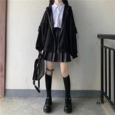 連帽jk衛衣女秋冬寬鬆開衫外套拉鏈灰色【愛物及屋】